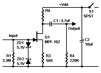 Schematic for JFET preamp at different power voltages