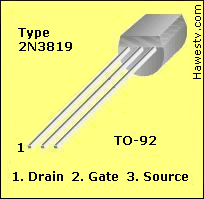 Pinout for a 2N3819 JFET