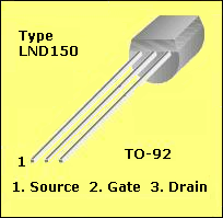 Pinout for a LND150 MOSFET
