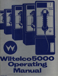 """Cover for         """"Wiltelco 5000"""" first payphone by Williams Telephone Company. Mouse over for conversion kit        manual (unpublished, 1987). Click for Wiltelco PC Programming Guide (1986)."""